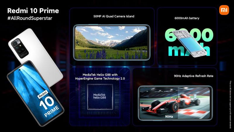 گوشی ردمی ۱۰ پرایم با باتری ۶۰۰۰ میلیآمپر ساعتی راهی بازار میشود.